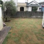 草刈り、整地、TM9張り、ギンバイカの移植、物置前コンクリート枕木設置/東京都小金井市