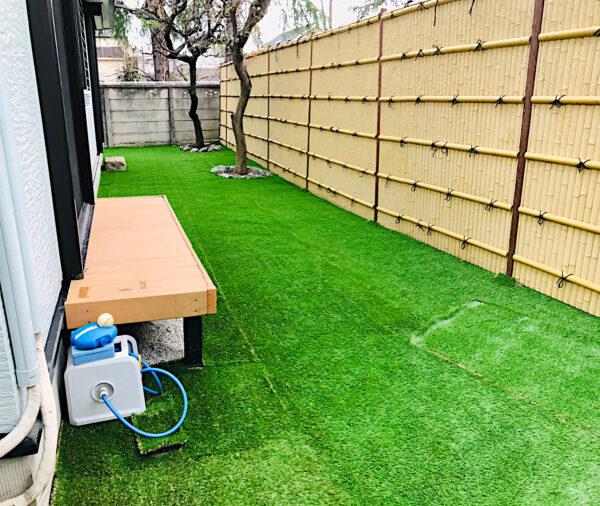 人工芝の施工作業(野球の練習スペース作り)・防草シート張り、砂利移動・整地、伐採/三鷹市