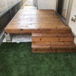 お庭リフォーム(ウッドデッキの設置・人工芝張り・砂利入れ)/上尾市