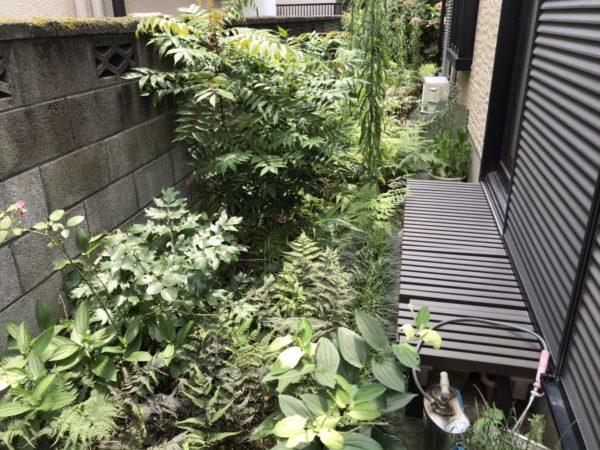 ご実家空き家のお庭。草刈り後、防草シート張りと砂利入れ/上尾市