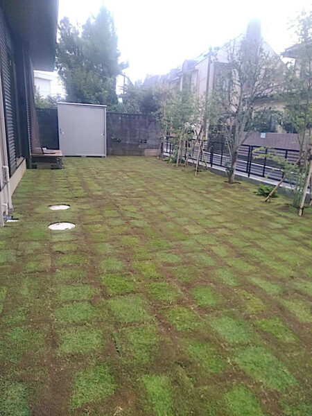 整地作業と芝張り(TM9の施工)/さいたま市見沼区